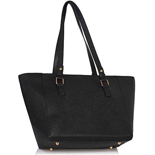 TrendStar - Bolso de tela para mujer negro C - Black