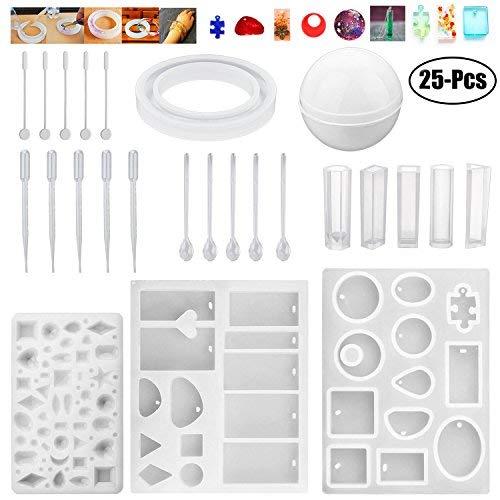 Outgeek - Moldes de resina para joyas, 10 unidades, moldes de silicona para fundición con 5 agitadores, 5 cucharas, 5 gotas...