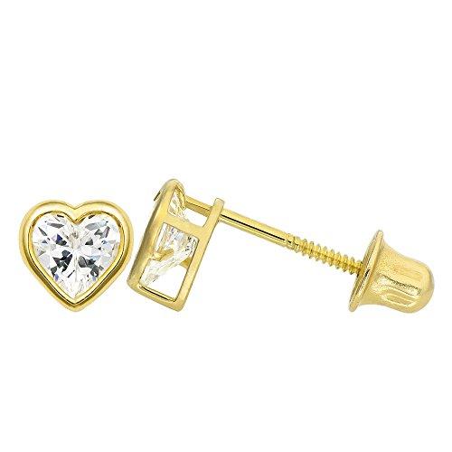 14K Yellow Gold 1.0 Cttw Heart Cut Clear Cubic Zirconia Bezel Set Stud Earrings (Screw Back)