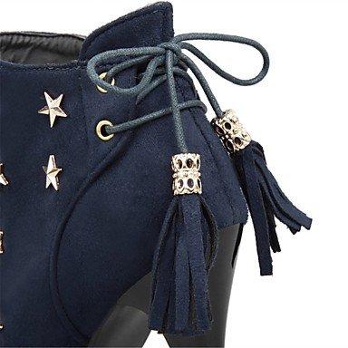 Heart&M Mujer Zapatos Vellón Otoño Invierno Botas de Moda Botas de Combate Botas Tacón Stiletto Dedo redondo Botines Hasta el Tobillo Remache Con red