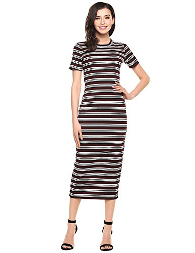 ANGVNS Striped Bodycon Casual Dresses