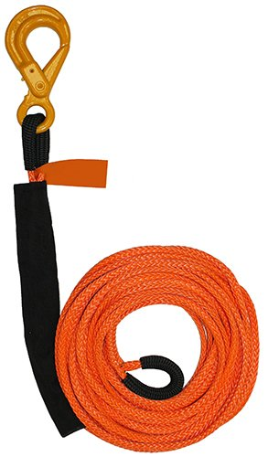 Synthetic 30 Width Self Lock Hook B//A Products 4-RE38100L Winch Line 12 Length 3//8 x 100 3.5 Height