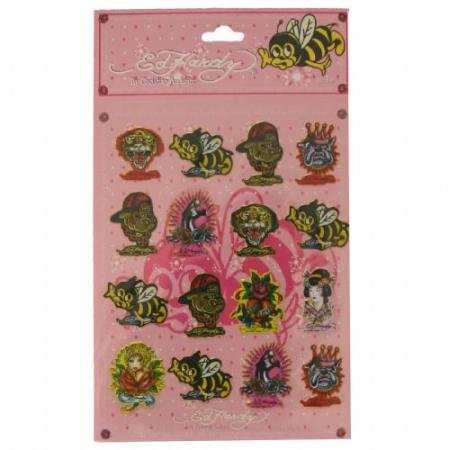 Ed Hardy Jade Bee Stickers - Pink