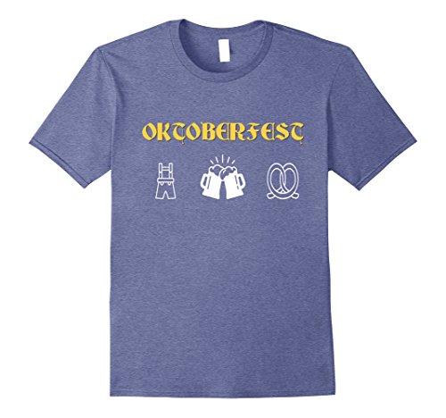 Germany Costume Ideas (Mens Oktoberfest Beer Lederhosen German Costume T Shirt Medium Heather Blue)
