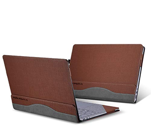 """for Microsoft Surface Laptop 2 Case, Pu Leather Detachable Cover for 2018 New Microsoft Surface Laptop 2 13.5 Inch Sleeve (Surface Laptop 2 13.5"""", Brown) -  ppker"""