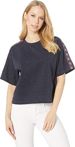 Juicy Couture Women's Iridescent Tee with Juicy Tape Regal/Iridescent Large