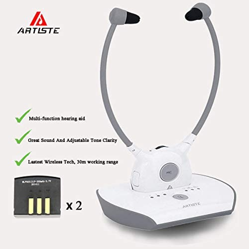 Wireless Hearing Aid Headset System,Artiste 2.4G TV Assistive Listening Headphones, Including Wireless Transmitter,for Elderly Hearing Aid Headset,TV Sound Amplifier,2 Packs Battery-White