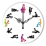 Moonluna Funny Sex Position Wooden Clock for Wall Decoration 14 inch Round Silence Wall Clock for Women Home Decor