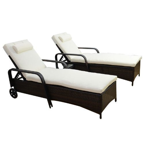 Outsunny Garden Rattan Furniture 3 PC Sun Lounger Recliner Bed Chair Set with Side Table Patio Outdoor Wicker Adjustable head height FIRE RESISTANT Sponge...