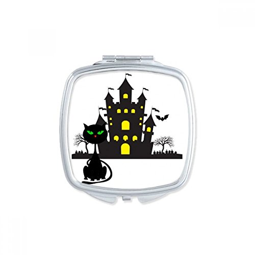 DIYthinker Halloween Horrible Gloomy Castle Cat Square Compact Makeup Pocket Mirror Portable Cute Small Hand Mirrors -
