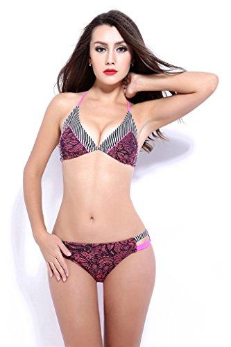 Fortuning's JDS Nueva llegada del bikini de una pieza acolchada cabestro conjunto del bañador del traje de baño para damas cossie rojo