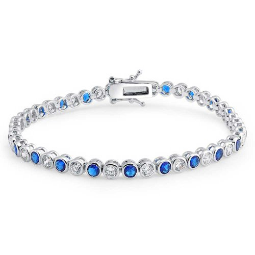 (Blue White Alternating CZ Round Bezel Set Tennis Bracelet For Women Simulated Sapphire Sterling Silver 7 inch)