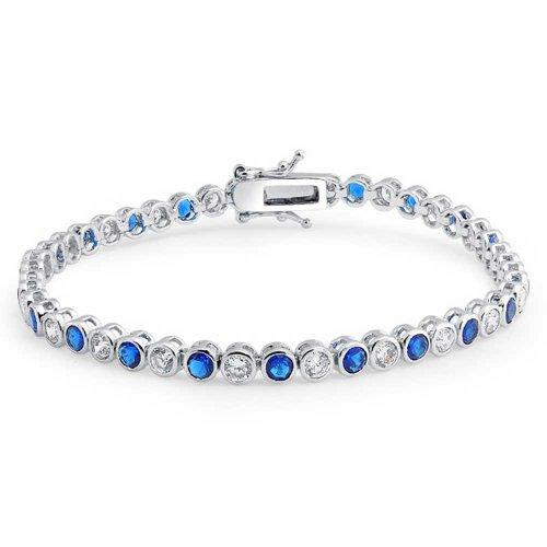Blue White Alternating CZ Round Bezel Set Tennis Bracelet For Women Simulated Sapphire Sterling Silver 7 Inch