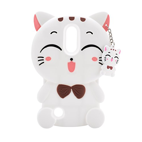 LG LV3 / LG Aristo / LG K8 2017 Case,XKAUDIE 3D white Lucky Fortune Cat Kitty with Cute Bow Tie Silicone Rubber Phone Case Cover for LG LV3 / LG Aristo / LG K8 2017