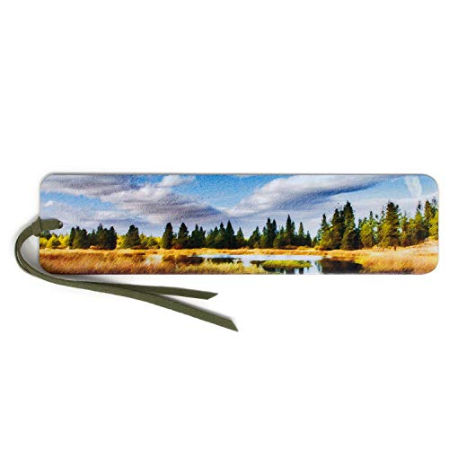 Reflection Lake Photograph by Mike DeCesare - Digitally Painted Handmade Wooden Bookmark with Tassel (Reserve Mike)