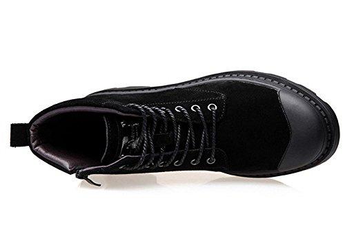 Hombres Estampación Martín Botas Casual Cuero Zapatos Mocasines Entrenadores Encajes Al aire libre Negro Grueso Fondo Cachemira Calentar Black
