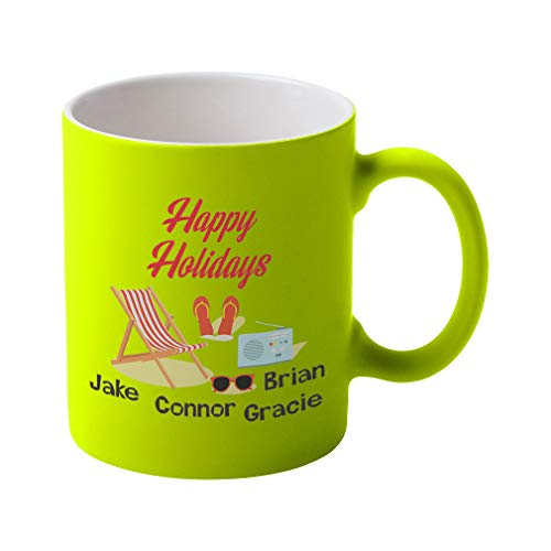 Personalized Custom Text Beach Sunglasses Happy Holidays Ceramic Coffee Tea Neon Mug - Neon Yellow