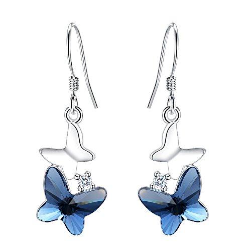 FANZE Women's 925 Sterling Silver Double Dancing Butterfly Delicate Bridal Earrings Made With Swarovski Crystal Blue (Butterfly Dangle Double)