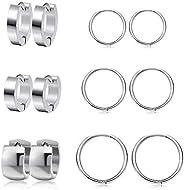 Stainless Steel Round hoop Earrings Cuff Ring Piercings Ear Chunky Hoop Huggie Dainty Thick Stud for Women Men