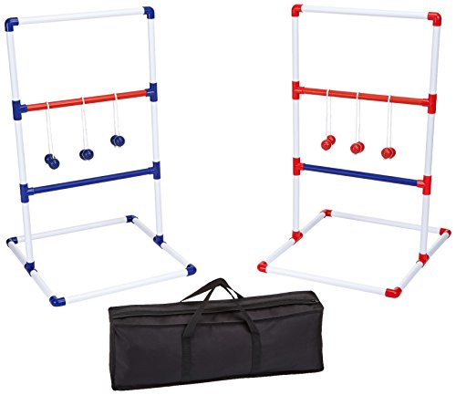 AmazonBasics Ladder Toss Outdoor Lawn Game Set with Soft Carrying Case - 40 x 24 Inches, Red and -