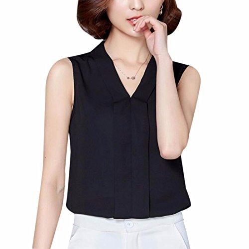 Business Mousseline Ol Bureau Nouvelle Pull Sans Tops Noir Chemise Blouses Sexy Manches Plaine qttFgrpnZ