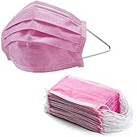 50pc Pink Face Mask 3Ply Masks with Comfortable Earloop Germ and Virus Protection and Personal Health