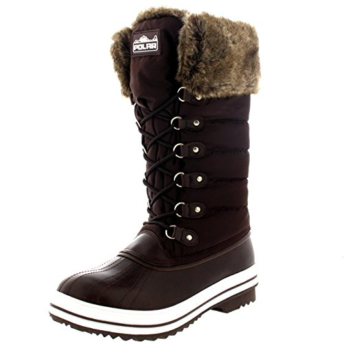 Womens Nylon Warm Side Zip Duck Muck Lace Up Rain Winter Snow Boots - 9 - BRO40 YC0118 (Winter Rain Snow Boots)