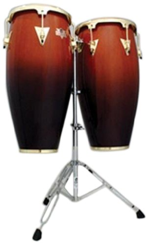 Latin Percussion LPC747-TSB Caliente Series 11-Inch and 12-Inch Conga Set with Stand - Tobacco Burst