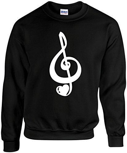 Adult Unisex Funny Crewneck Size 3X (MUSIC CLEFT HEART NOTE) Novelty Sweatshirt