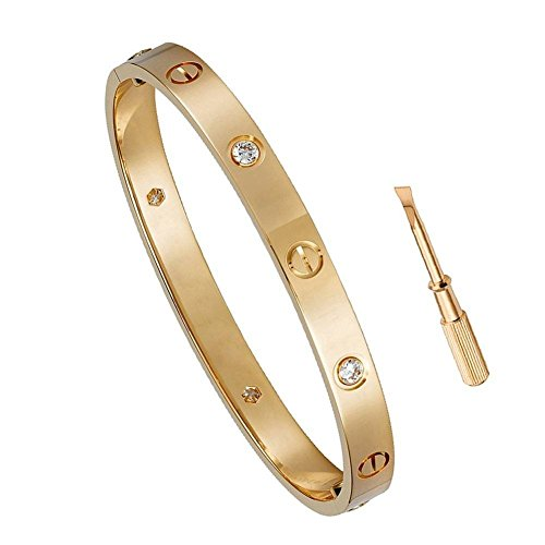 Y.S.M.Y Birthday Gift for Him Love Bracelet- Titanium Steel Screw Hinged Cuff Bangle Bracelet Rose Gold w/CZ Stone 7.5IN by Y.S.M.Y (Image #1)