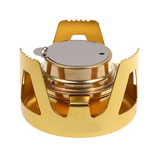 BARGAIN HOUSE Alloy Mini Stove Stand Alcohol Burner Camp Outdoor Windproof Lightweight All 5 Colors (gold)