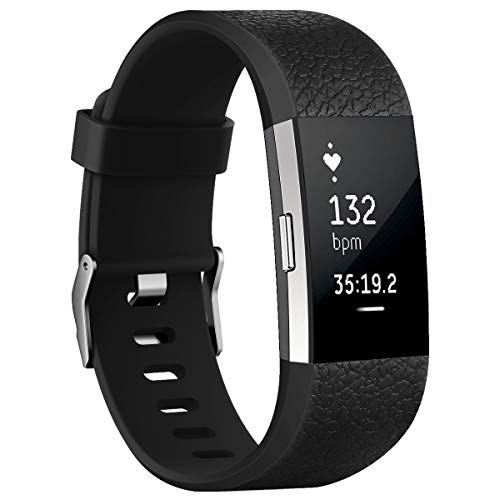 Aahlsen for Fitbit Charge 2 Band,Sport Straps Adjustable Replacement Bracelets Classic Leather Sports Breathable Wristband for Fitbit Charge 2 Small Black