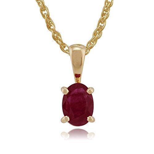 Gemondo en or jaune 9 carats-Rubis-Clous d'oreille-Griffe ovale &Collier 45 cm