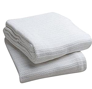 Elivo 100% Cotton Hospital Thermal Blankets - Open Weave Cotton Blankets - Breathable and Prevent Overheating - Soft, Comfortable and Warm - Hand and Machine Washable