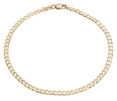 Pori Jewelers 10K Gold 3.5MM Hollow Curb/Cuban Chain Bracelet and Necklace-Made in Italy- Yellow White Or Rose Gold (Yellow, 7)