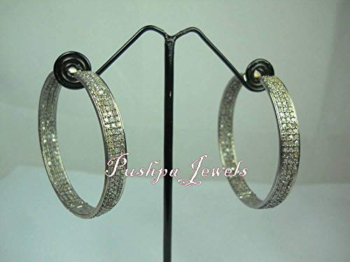 Bohemian Style 3.90cts Natural Pave Diamonds Sterling Silver Hoops Earrings ()
