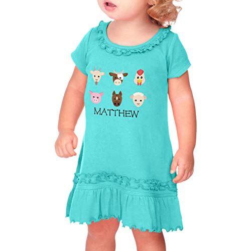Personalized Custom Farm Animals Taped Neck Toddler Short Sleeve Girl Ruffle Cotton Sunflower Dress - Caribbean Blue, 24 Months