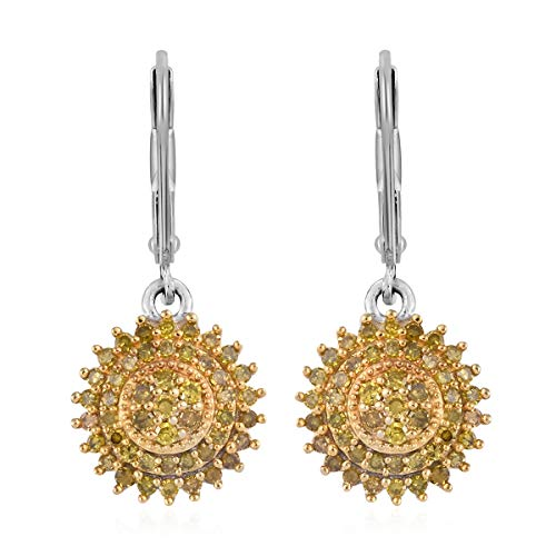 (Round Yellow Diamond Dangle Drop Earrings 925 Sterling Silver Platinum Plated Jewelry for Women Ct 1)