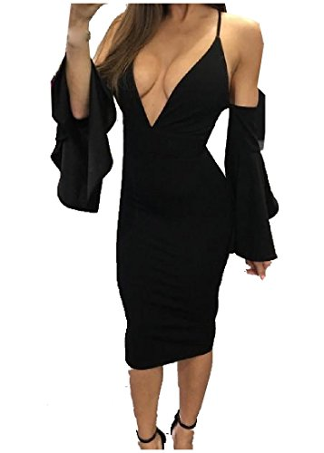 Neck s Mid Coolred Dress Pure Deep Cut Women Black Nightclub Back Out V qT0BT5