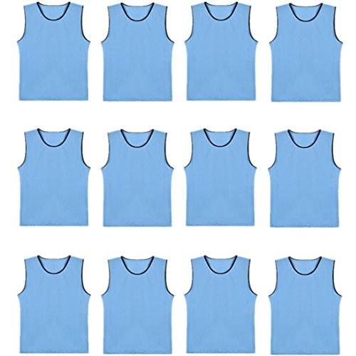 DreamHigh DH Soccer Sports Team Practice Pinnies Training Mesh Vests Youth -12 Pcs Pack-Sky Blue