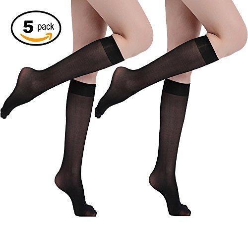 Ladies Black Sheer - 5 Pairs Lady's Sheer Knee High Stockings (BLACK)