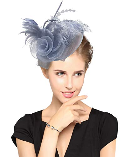 - Z&X Sinamay Fascinator Headband Mesh Feather Flower Cocktail Pillbox Hat Grey