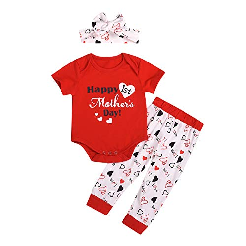 My First Mother's Day Outfit Baby Girls Boys Letter Print Bodysuit Romper Heart Pants Clothes -
