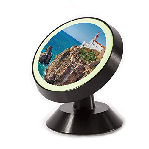 (Magnetic Dashboard Cell Phone Car Mount Holder,Shore Seaside Rocks Building Cliff Sunny,can be Adjusted 360 Degrees to Rotate,Phone Holder Compatible All Smartphones)