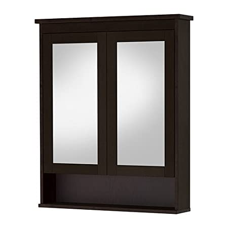 Ikea Hemnes Double Mirror Glass Door Cabinet Black Brown Spots