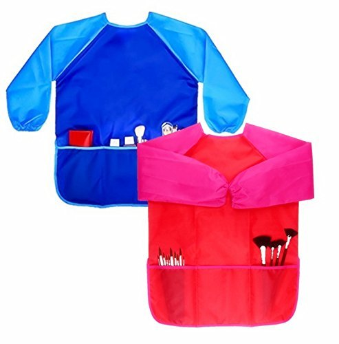 Children Art Smock, Magnolian 2 Pack Long-sleeved Kids Painting Apron With Front Pockets & Velcro Straps for 3-6 Years Old Unisex Toddler, Perfect for School, Painting Classroom, Home and Kitchen (Smock Vinyl)