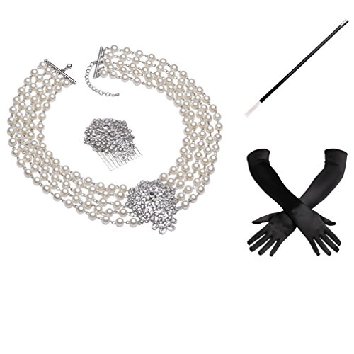 Holly Golightly Necklace Costumes (BABEYOND Classic Breakfast at Tiffany's Inspired Hepburn Accessories Set 4 Pcs)