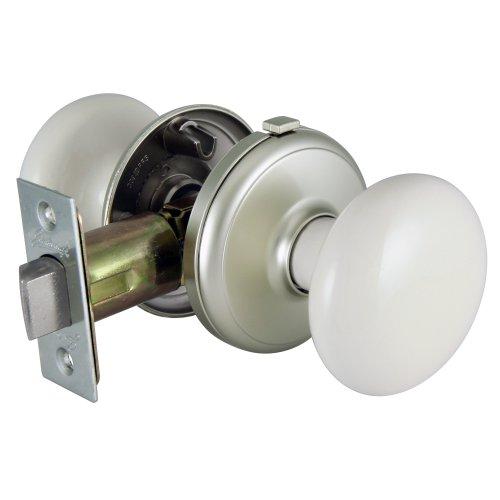 - GAINSBOROUGH Interior Locking BISQUE PORCELAIN & SATIN NICKEL Door Knob Set