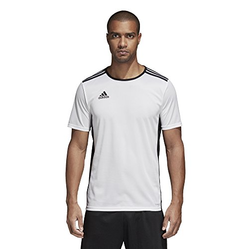 (adidas Men's Soccer Entrada 18 Jersey, White/Black, Large)
