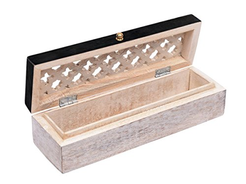 White Distressed Finish Wooden Pen Pencil Case Box Stationary Organizer for Multipurpose Storage